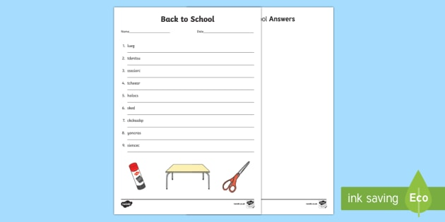 Back to School Word Scramble Activity Sheets