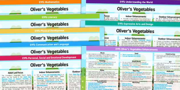 EYFS Lesson Plan and Enhancement Ideas to Support Teaching on Olivers Vegetables - story books, lessons