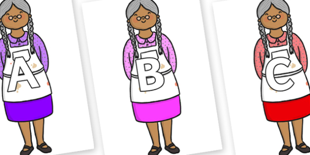 A-Z Alphabet on Little Old Woman - A-Z, A4, display, Alphabet frieze, Display letters, Letter posters, A-Z letters, Alphabet flashcards