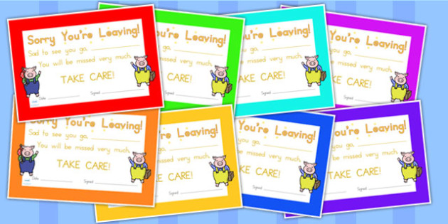 Sorry You Are Leaving Certificate - leaving, certificate, awards