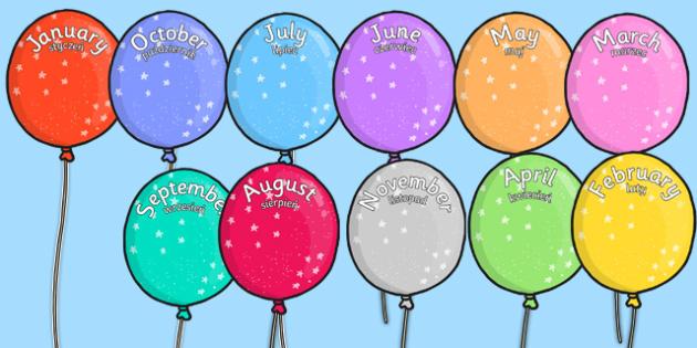 Editable Month Balloons Polish Translation - polish, editable, month, balloons, display