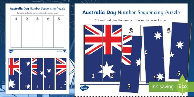 Australia Day Number Sequencing Puzzle - australia, number puzzle