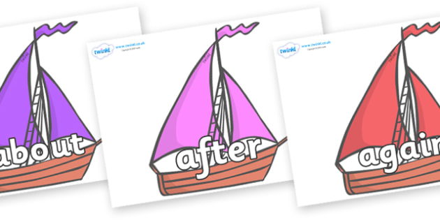 KS1 Keywords on Sailing Boats to Support Teaching on Where the Wild Things Are - KS1, CLL, Communication language and literacy, Display, Key words, high frequency words, foundation stage literacy, DfES Letters and Sounds, Letters and Sounds, spelling