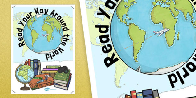 Read Your Way Around the World Display Poster - read, way, around, world, display poster
