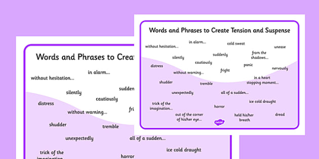 Words and Phrases to Create Tension, Suspense and Mystery Word Mat - word mat
