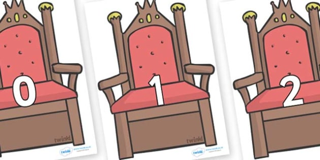 Numbers 0-100 on Thrones (Plain) - 0-100, foundation stage numeracy, Number recognition, Number flashcards, counting, number frieze, Display numbers, number posters