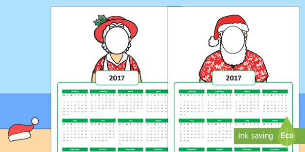 New Zealand Christmas-Themed Personalised 2017 Year to a Page Calendar