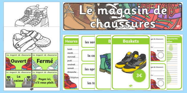 Shoe Shop Role Play Pack French - french, Shoe shop, shoes, role play, pack, shop, trainers, shoe box, labels, measuring chart, word cards