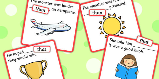Finish the Sentence Cards: Than, That - conjunction
