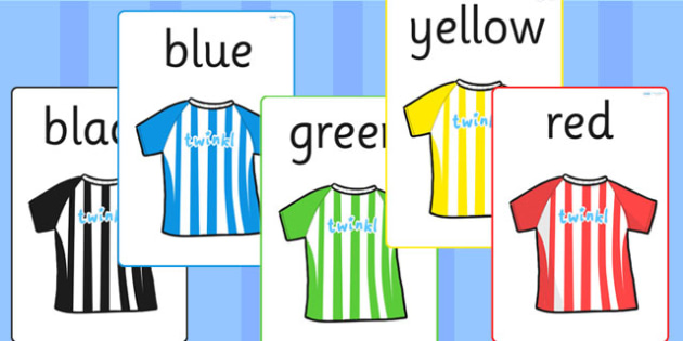 Football Shirts Colour Flashcards - football, colouring, cards