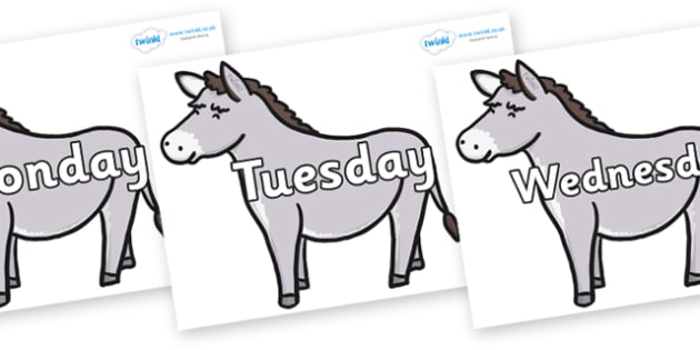 Days of the Week on Donkeys - Days of the Week, Weeks poster, week, display, poster, frieze, Days, Day, Monday, Tuesday, Wednesday, Thursday, Friday, Saturday, Sunday