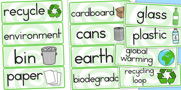 Recycling Word Cards - recycling, cards, literacy, visual, words