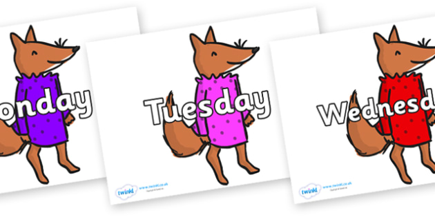 Days of the Week on Small Fox 3 to Support Teaching on Fantastic Mr Fox - Days of the Week, Weeks poster, week, display, poster, frieze, Days, Day, Monday, Tuesday, Wednesday, Thursday, Friday, Saturday, Sunday