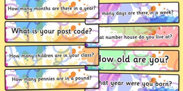 Number Question Cards - number question cards, question, cards