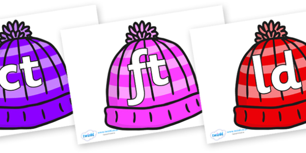 Final Letter Blends on Woolly Hats - Final Letters, final letter, letter blend, letter blends, consonant, consonants, digraph, trigraph, literacy, alphabet, letters, foundation stage literacy