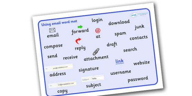Using Email Word Mat - Using Email Word Mat, Email, writing, word mat, mat, writing aid, at, compose, write, new, reply, forward, send, inbox