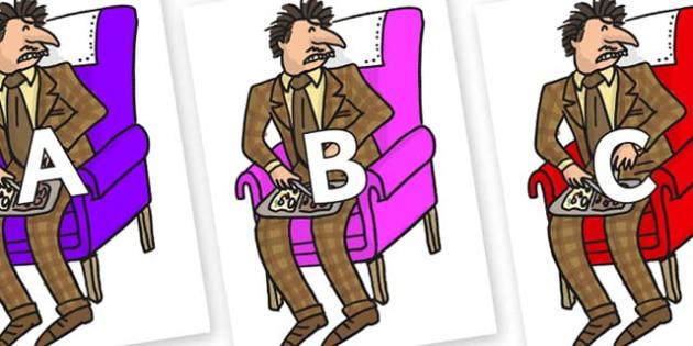 A-Z Alphabet on Mr Wormwood to Support Teaching on Matilda - A-Z, A4, display, Alphabet frieze, Display letters, Letter posters, A-Z letters, Alphabet flashcards