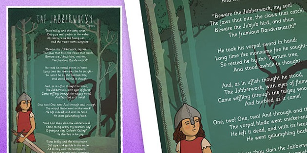 The Jabberwocky Illustrated Poem Display Poster - the jabberwocky poem, jabberwocky poster, jabberwocky, jabberwocky display poster, poem poster, display