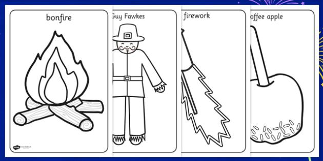 Bonfire Night Words Colouring Sheet - fireworks, motor skills