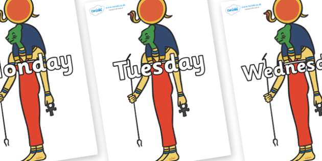 Days of the Week on Egyptian Icons - Days of the Week, Weeks poster, week, display, poster, frieze, Days, Day, Monday, Tuesday, Wednesday, Thursday, Friday, Saturday, Sunday