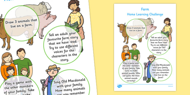 EYFS Farm Home Learning Challenge Sheet Nursery FS1 - eyfs, farm, home learning, challenge, sheet, nursery