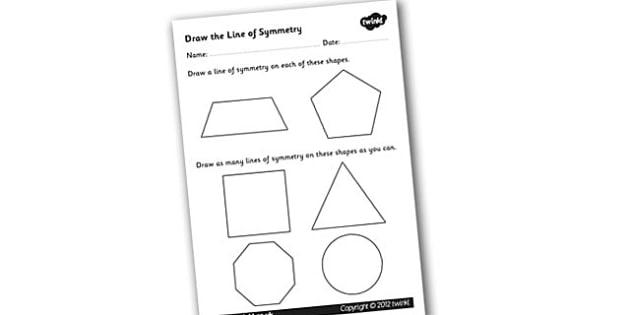 Draw the Line of Symmetry Worksheet - symmetry, symmetry worksheet, line of symmetry worksheet, lines of symmetry with shapes, shapes worksheet, sk2 maths