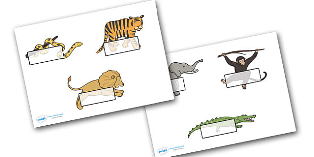 Jungle Animal Themed Self Registration - walking through the jungle, animals, story, book, Self registration, register, editable, labels, registration, child name label, printable labels, jungle, animal, lion, tiger, elephant, snake monkey, cro