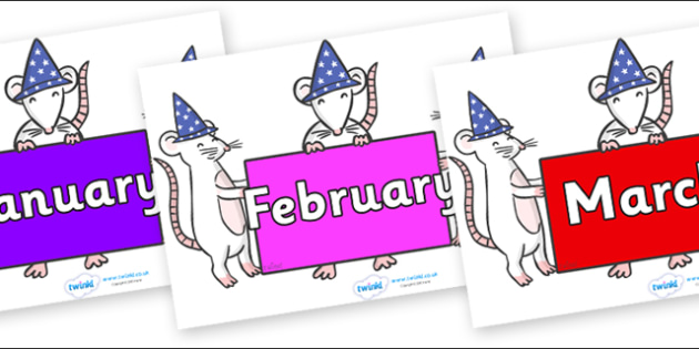 Months of the Year on Magic Mice - Months of the Year, Months poster, Months display, display, poster, frieze, Months, month, January, February, March, April, May, June, July, August, September