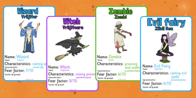 Halloween Monster Top Card Game Romanian Translation - romanian, halloween, monster, top trumps