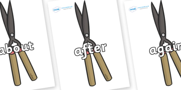 KS1 Keywords on Shears - KS1, CLL, Communication language and literacy, Display, Key words, high frequency words, foundation stage literacy, DfES Letters and Sounds, Letters and Sounds, spelling