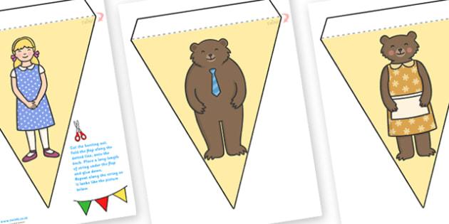 Goldilocks and the Three Bears Display Bunting - goldilocks and the three bear, display bunting, bunting for display, themed bunting, bunting