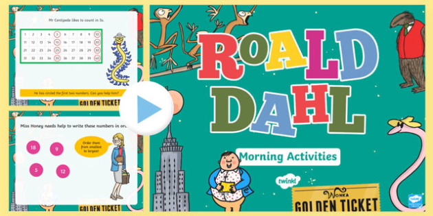Roald Dahl Themed Year 1 Morning Actvities PowerPoint-Welsh