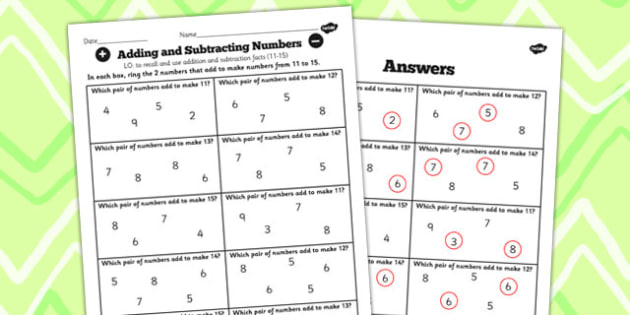 Number Facts Finding Pairs Worksheet 11-15 - number, fact, 11, 15