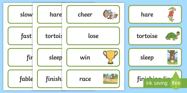 The Tortoise and The Hare Word Cards - visual aid, story books