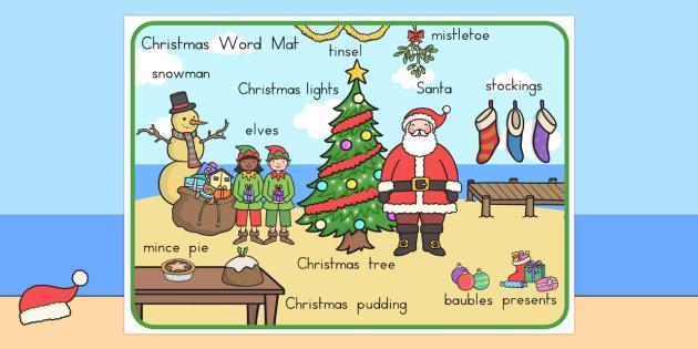 Australian Christmas Word Mat - austrlia, christmas