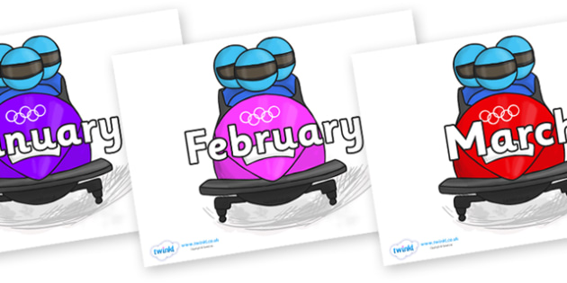 Months of the Year on Bobsleigh - Months of the Year, Months poster, Months display, display, poster, frieze, Months, month, January, February, March, April, May, June, July, August, September
