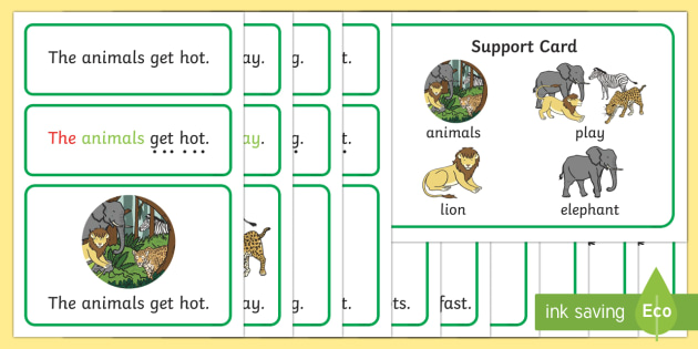 In the Jungle Simple Sentence Cards -  In the Jungle, Sentences, sentence cards, reading, phonics, eyfs, literacy