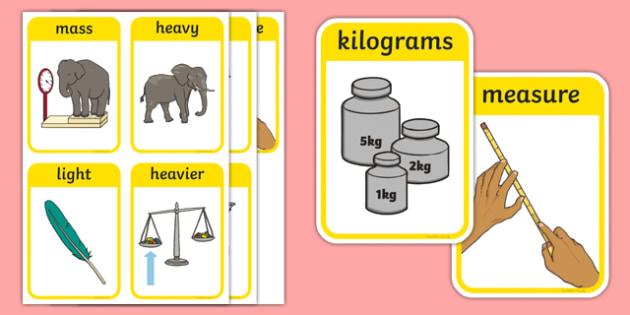 CfE Early Level Numeracy and Mathematics Measurement (Mass) Keyword Flashcards-Scottish