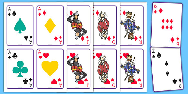 Printable Playing Cards - printable, playing cards, wet play, activity, play, cards, game