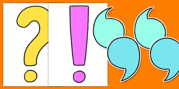 Plain Punctuation Cut Outs - plain, punctuation, cut outs, grammar