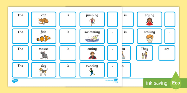 EAL Sentence Builder Cards with Verbs - eal, sentence, cards