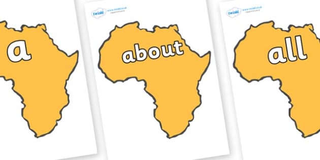 100 High Frequency Words on Africa - High frequency words, hfw, DfES Letters and Sounds, Letters and Sounds, display words