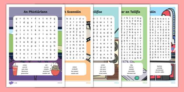 Irish Gaeilge Teilifís Word Search Pack