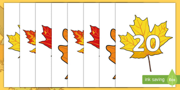 Numbers 0-20 on Fall Leaves