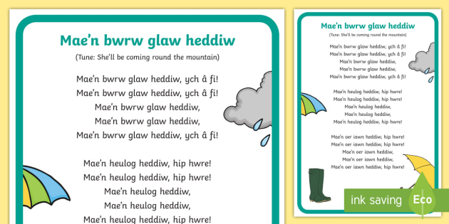 It's Raining Today Song Lyrics - Welsh Second Language Songs and Rhymes, Y Tywydd, Glaw, Welsh, Weather.,Welsh