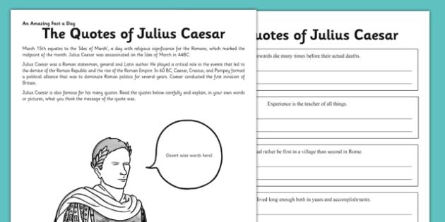 The Quotes of Julius Caesar Activity Sheet - julius ceaser, quotes, rome, roman, emperor, worksheet