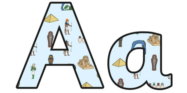Ancient Egypt Lowercase Display Lettering - ancient egypt, egypt, egyptians, ancient egypt display, ancient egypt lettering, ancient egypt letters, ks2