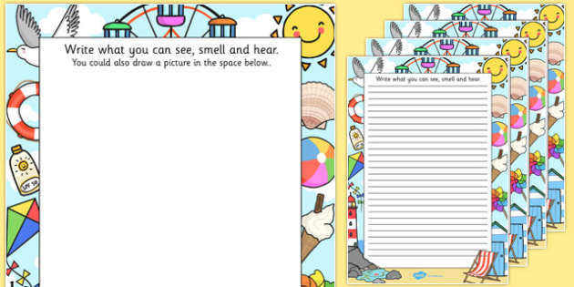 Seaside Trip Senses Writing Frames - seaside, trip, senses, writing frames