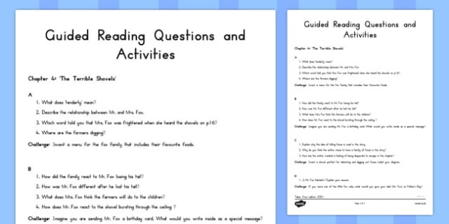 Guided Reading Questions Chapter 4 to Support Teaching on Fantastic Mr Fox - australia