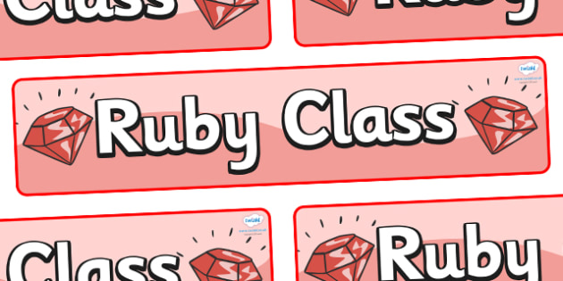 Ruby Themed Classroom Display Banner - Themed banner, banner, display banner, Classroom labels, Area labels, Poster, Display, Areas